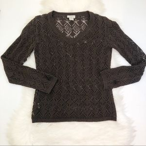 •LOFT• Dark Brown Open Knit Sweater XS